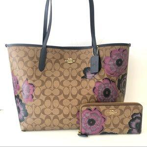 Coach City Tote Kaffe Floral Purse Wallet Set